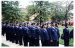 Cadets in Dress Uniform Stand at Attention