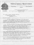 Cousins, Sidney [Letter From National Savings and Trust Company]