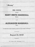 Mary Smith Marshall and Alexander Marshall Musical Concert Program
