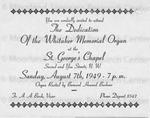 Whitaker Memorial Organ Recital  Invitation