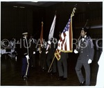 [Color Guard Presents Flag in Blackburn Center]