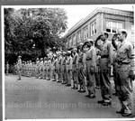 Men of the Basic Engineering Course at Howard University standing at Attention During Retreat