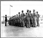 Parade Rest_  Sergeant Edgar Huff inspects his platoon of colored Marines at Montford Point, N.C., their training base. The platoon is at parade rest.