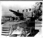 Negro troops on guard in Hawaii on tank