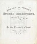 1872 - Howard University Normal Department Commencement