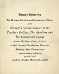1911 - Howard University Normal Training Courses: Teachers College, Academy and Commercial College Commencement Programs (invitation)