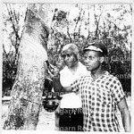 With Young Man in Africa with Rubber Tree