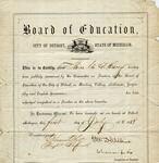 Cary, M.A.S - Detroit Teaching Certificate, July 1, 1868