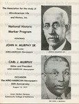 Association for the Study of Afro-American Life And History, Inc. - National Historic Marker Program Honoring, John H. Murphy Sr. founder, Afro-Amer. Newspapers and Carl J. Murphy, Editor and President, Afro-American Newspapers, Inner Harbor Campus, Community College of Baltimore [MD], 1977