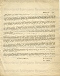 Chapman, M.W., Circular Letter.
