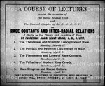 Poster Proclaiming Course of Lectueres by Alain L. Locke