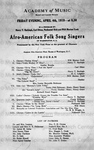 Academy of music Afro American folk song singers April 4, 1919