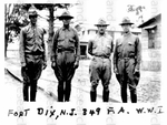 Thomas Montgomery Gregory (third from left) with three unidentified men at Fort Dix, NJ during WWI